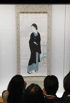 44年ぶりに公開された鏑木清方の美人画の名作「築地明石町」。一般公開は11月1日から=24日、東京都千代田区の東京国立近代美術館