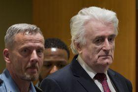 20日、オランダ・ハーグの「国際刑事法廷メカニズム」に出廷したカラジッチ被告(右)(ロイター=共同)