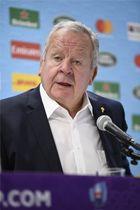 記者会見でラグビーW杯1次リーグを総括するワールドラグビーのビル・ボーモント会長=15日、東京都内