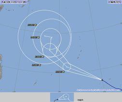 台風28号の進路予想図(気象庁HPより)