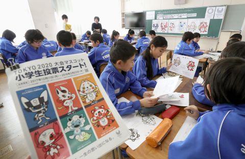 報道陣に公開された「マスコット投票授業」=11日午前、福島市の市立吉井田小学校
