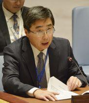 国連安全保障理事会の会合で演説する石兼公博新国連大使=19日、米ニューヨークの国連本部(共同)