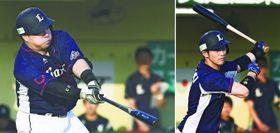 1回西武2死二塁、左前に先制打を放つ山川穂高(左)と、1回西武2死一、二塁で右越えに2点三塁打を放つ外崎修汰=北九州