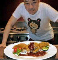 居酒屋店主がイチジク料理教室で披露する、自家製ソースをかけた鶏肉のソテー(城陽市寺田)