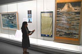 参詣曼荼羅に表現された富士山信仰の世界を伝える企画展=富士宮市の県富士山世界遺産センター