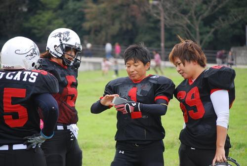 QB高崎さん(1)を中心にスマートフォンを使ってプレーを確認するワイルドキャッツの選手たち=10月27日、深北緑地公園