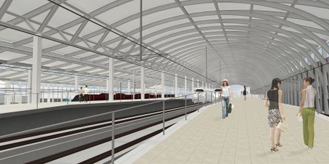 新しい長崎駅の内観のイメージ図(長崎県提供)。屋根は曲線が特徴だが、暫定開業時にはホーム全体を覆うことができない