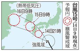 台風15号の予想進路(14日9時現在)