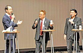 情報発信の大切さについて語る(左から)内堀知事、伊達さん、富沢さん