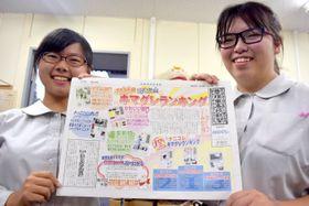 速報「キマグレ」の2000号を手にする宮下さん(左)と今井さん=彦根市・彦根東高