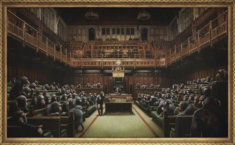 英議会風刺のバンクシー画競売へ