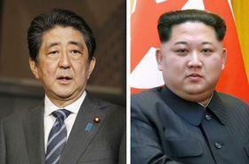 安倍晋三首相、北朝鮮の金正恩朝鮮労働党委員長(新華社=共同)