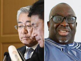 2019年1月15日、記者会見するJOCの竹田恒和会長(左) パパマッサタ・ディアク氏(右)