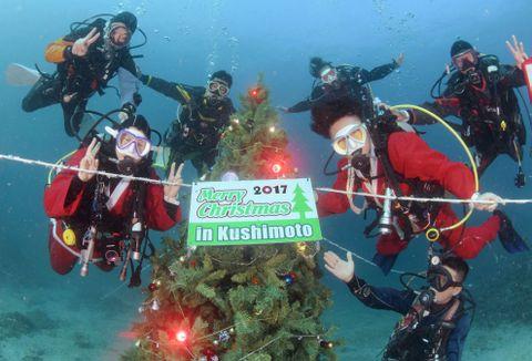 和歌山県串本町沖の海底に設置されたクリスマスツリー(串本ダイビング事業組合提供)