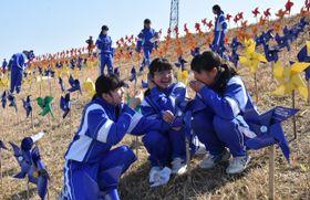 風車アートを設置する岡富中の生徒たち