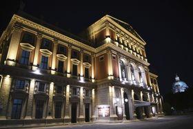 約3カ月ぶりにコンサートが再開されたウィーン楽友協会=5日夜、ウィーン(共同)