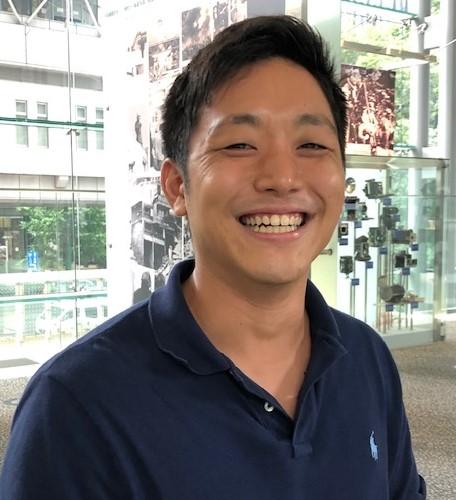 米プロリーグ入りへの夢を語る、IBMのK佐藤敏基選手=東京・東新橋の共同通信社本社