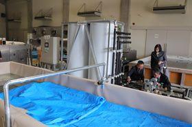 太陽熱で作った温水と、保存剤にトレハロースを使う沈没船の大型木材保存処理装置=松浦市鷹島町、市立埋蔵文化財センター