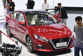 「広州国際モーターショー」で公開された日産自動車の中国仕様の新型「アルティマ」=16日、中国・広州(共同)