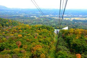 赤や黄色に色づき始めた木々や雫石の街を眼下に望む空中散歩が楽しめる「紅葉ロープウエー」