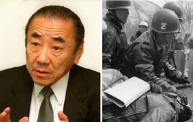 2000年、インタビューに答える佐々淳行さん(左)、1972年2月、連合赤軍「あさま山荘」事件、現場で撃たれてたんかで運ばれる警察官(右)