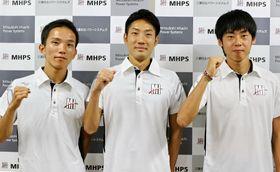 東京五輪切符を懸けてMGCに挑むMHPS勢。(左から)井上、木滑、岩田=長崎市、三菱重工昭和寮