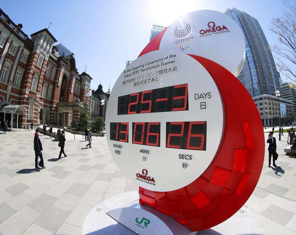 東京五輪・パラリンピックの延期が決まり、現在日時の表示に変更されたJR東京駅前のカウントダウン時計=3月25日午後(魚眼レンズ使用)