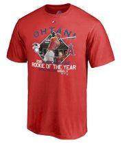 エンゼルス・大谷翔平のア・リーグ新人王受賞を記念して販売されたTシャツ(同球団提供)