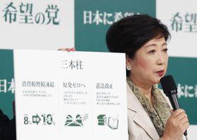 記者会見で衆院選公約を発表する希望の党代表の小池百合子都知事=6日午前、東京都内のホテル