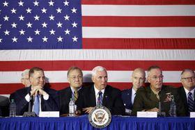20日に開かれた国家宇宙会議=米バージニア州(AP=共同)