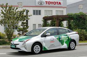 トヨタ自動車がブラジルで公開した、「フレックス燃料車」の試作ハイブリッド車