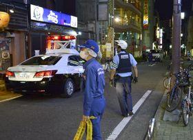 男性が襲われた現場付近=26日未明、名古屋市