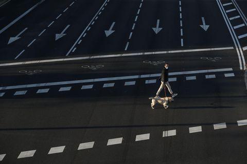 人けのない大通りで犬の散歩をする女性=28日、スペイン・マドリード(ロイター=共同)