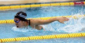 女子100メートルバタフライで大会記録を更新した一ノ瀬(京都市障害者スポーツセンター)