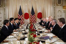 2日目を迎えた日米首脳会談=18日、パームビーチ(AP=共同)