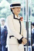 全国赤十字大会に出席のため、会場に到着された皇后さま=22日午前、東京都渋谷区(代表撮影)