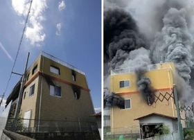 京都市伏見区の「京都アニメーション」第1スタジオ=左は8月8日、右は提供写真、7月18日の火災当時