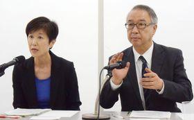 記者会見する国際交流基金の柄博子理事(左)ら=14日、東京都新宿区