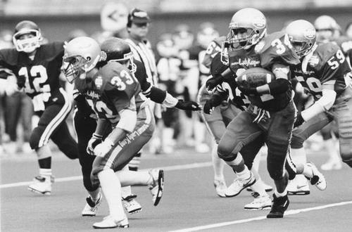 クイーンボウルで熱戦を繰り広げる関西興銀ワイルドキャッツと第一生命レディコングの選手たち=1993年、千葉マリンスタジアム
