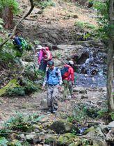 沢沿いに整備された宝篋山の登山道=茨城県つくば市