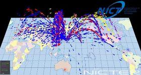 日本に向けられたサイバー攻撃のイメージ=2016年2月(国立研究開発法人情報通信研究機構提供)