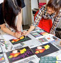 秋を題材に絵を描いたチョークアート教室(京都府亀岡市古世町・MAGGY HOUSE)