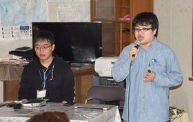 長田地区の活性化策を発表する(右から)石束さん、黒木さん