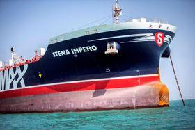 英国船籍のタンカー=8月22日、イラン近海(ロイター=共同)