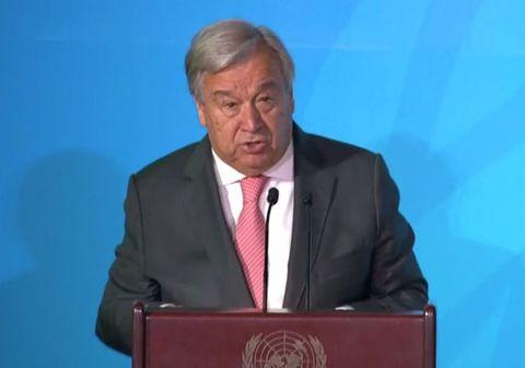 国連本部で開かれた「気候行動サミット」であいさつするグテレス事務総長=23日、米ニューヨーク(国連のホームページから)
