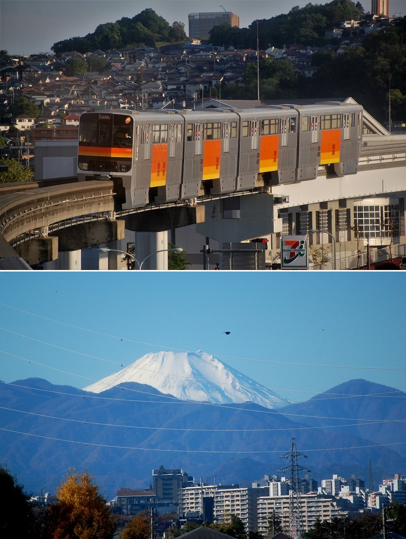 (上)さえぎるもののない眺めが魅力の多摩モノレール(下)冬場は富士山がよく見える