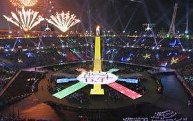 平昌冬季パラリンピックの閉会式=18日、韓国・平昌(共同)