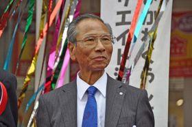 「きよかわくらし応援館」のオープンを祝う式典に出席した大矢村長=2018年3月、清川村煤ケ谷
