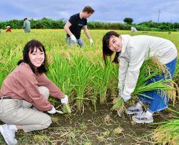 稲刈りを楽しむワンさん(左)とシャさん