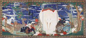 伊藤若冲の「鳥獣花木図屏風」(部分、18世紀、出光美術館蔵)